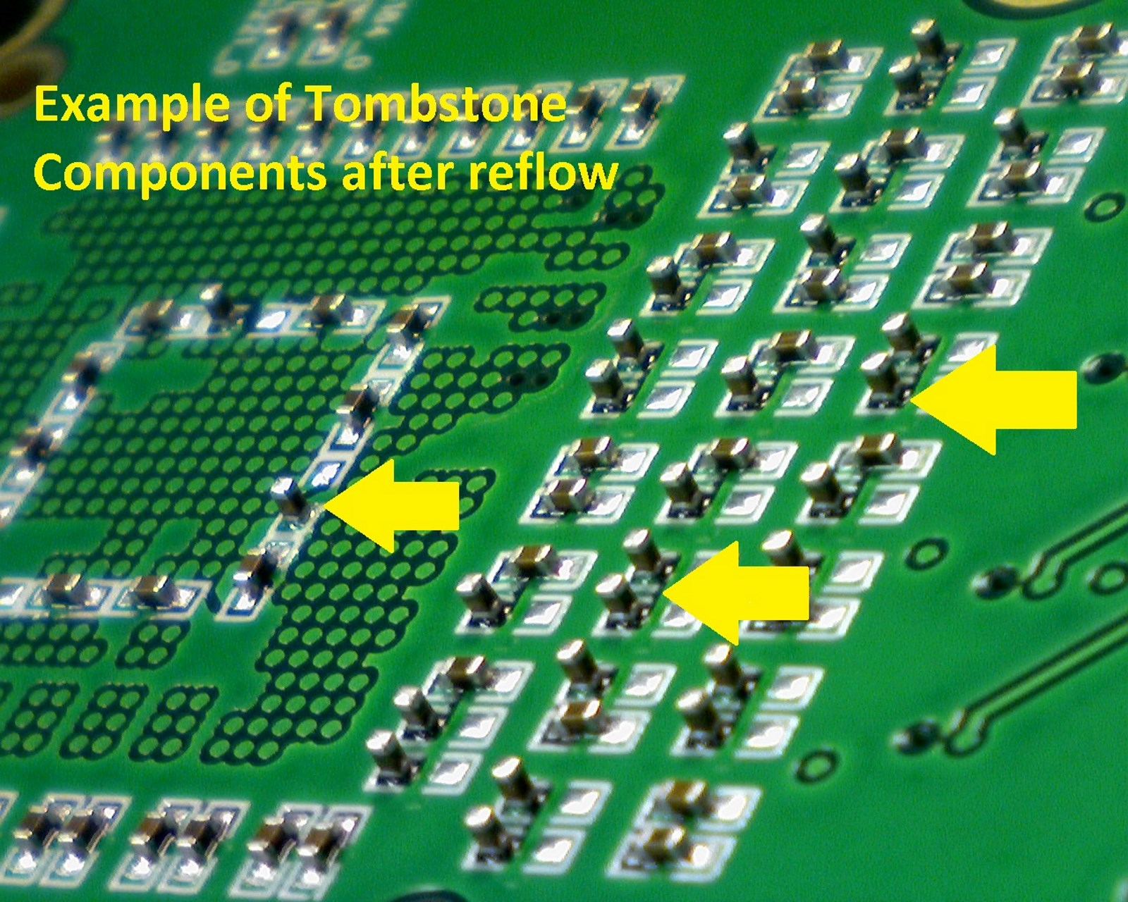 Anatomy Of Ate Pcb Assembly Ee Times Custom Made Green Board Electronic Circuit Boards Pcba Fig 4 Tombstones Are Lifted Components From One Side This Flaw Could Be Due To Inaccurate Stencil Design Among Other Factors